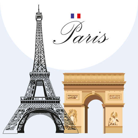 Vector image Eiffel tower hand drawing in black and colorful Triumphal Arch Ilustrace