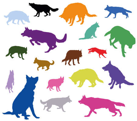 Set vector isolated silhouettes of colorful dogs (German shepherd dog) cut out on white background
