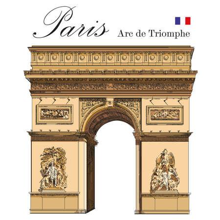 Il vettore trionfale dell'arco (punto di riferimento di Parigi, Francia) ha isolato l'illustrazione variopinta del disegno della mano su fondo bianco Archivio Fotografico - 78274601