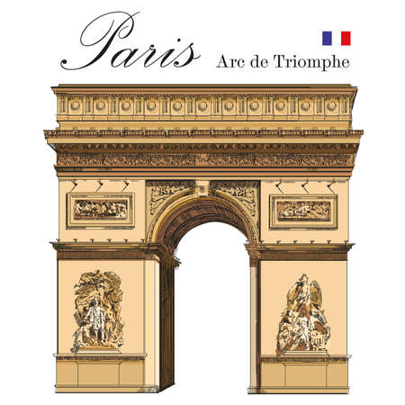 Triumphal 아치 (파리, 프랑스의 랜드 마크) 격리 된 다채로운 손을 흰색 배경에 그림 그리기 벡터 일러스트