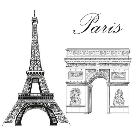 Eiffel tower and Triumphal Arch (Landmarks of Paris, France) vector isolated hand drawing illustration in black color on white background Zdjęcie Seryjne - 78274602
