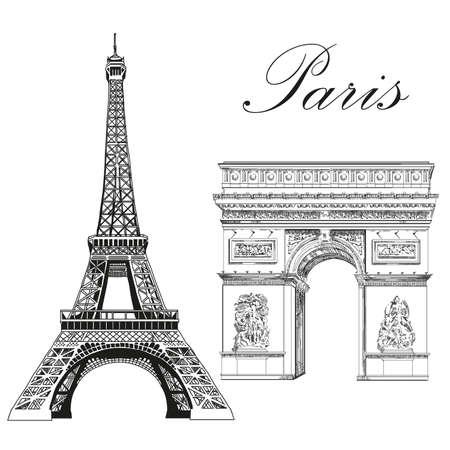 Eiffeltoren en triomfboog (monumenten van Parijs, Frankrijk) vector geïsoleerde hand tekening illustratie in zwarte kleur op witte achtergrond Stock Illustratie