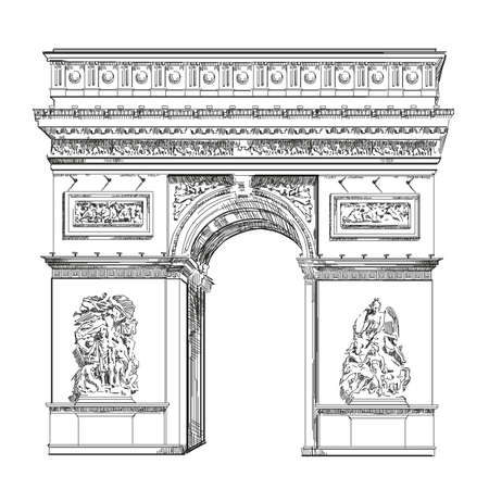 Triumphal Arch (Landmark of Paris, France) vector isolated hand drawing illustration in black color on white background
