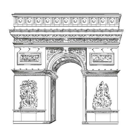 Triomfboog (Landmark van Parijs, Frankrijk) vector geïsoleerde hand tekening illustratie in zwarte kleur op witte achtergrond