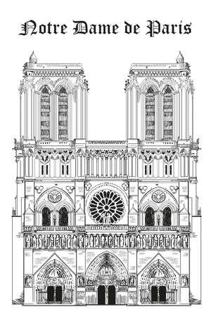 ノートルダム大聖堂 (パリ、フランスのランドマーク) ベクトル デッサン白い背景の黒い色のイラスト分離手