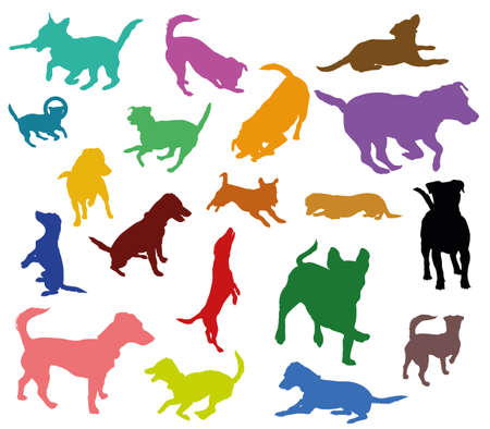 Set of vector colorful silhouettes of dogs (Jack Russel terrier) cut out on white background