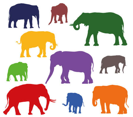 Set of vector standing indian and african elephants in different colors on white background