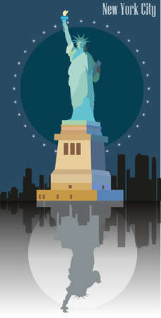 Statue of freedom ( Statue of Liberty) on blue background of New York.  Colorful vector image