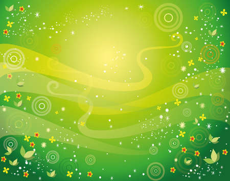 Spring and summer Green vector background with circles, flowers and leaves.