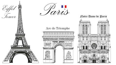 Vector Eiffel Tower, Triumphal Arch and Notre Dame Cathedral vector hand drawing image