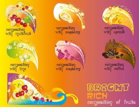 Vector conjunto de brillante y rica composición de frutas sobre fondo colorido Foto de archivo - 79490406