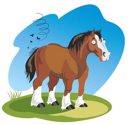 Vector illustration funny cartoon horse isolated on white background Illusztráció