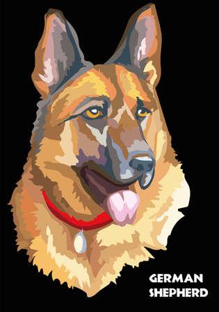 Kleurrijk geïsoleerd portret van Duitse herder vectorillustratie op zwarte achtergrond Stock Illustratie
