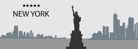ニューヨーク市、米国、高層ビル、自由の女神像のシルエット ベクトル灰色と黒の色のパノラマ  イラスト・ベクター素材