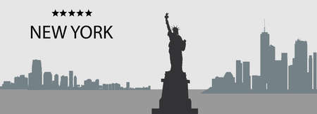 Silhouettes of New York City, USA, Skyscrapers and Statue of Liberty vector panorama in grey and black colors Illustration