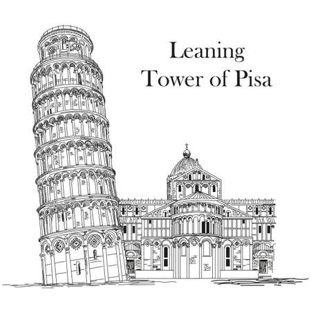 Leaning Tower of Pisa (Landmark of Italy) vector hand drawing illustration in black and white