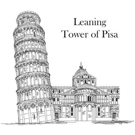 Tour de pise (point de repère de l'Italie) main de vecteur de dessin illustration en noir et blanc Banque d'images - 80088373