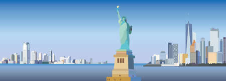Silhouettes of Skyscrapers of New York City and Statue of Liberty colorful vector panorama in different colors