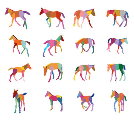 Set of mosaic vector colorful standing, trotting, galloping foals silhouettes isolated on white background Illustration