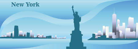 Silhouettes of Skyscrapers of New York City and Statue of Liberty colorful vector panorama in blue colors Illustration