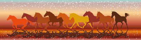 Illustrazione vettoriale sfondo colorato con sagome di cavalli galoppo in esecuzione Archivio Fotografico - 80088369