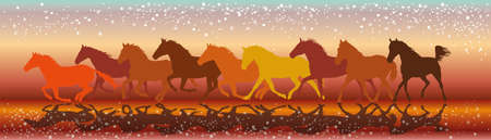 Vector illustration colorful background with silhouettes of horses running gallop