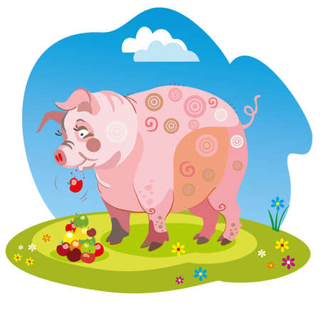 Vector illustration funny cartoon pig stands on a meadow and eats the apples isolated image on white background