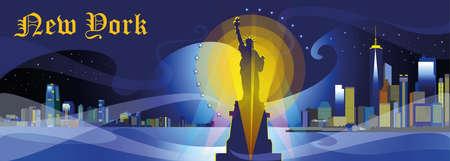 Panoramisch nachtmening van New York-stad met schijnwerper, wolkenkrabbers en sterren Stock Illustratie