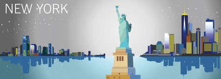 自由、高層ビル、星の像がニューヨーク市のパノラマ夜景