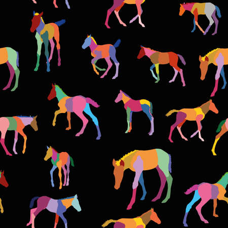 Seamless pattern with colorful mosaic foals (standing and running) on black background Illustration