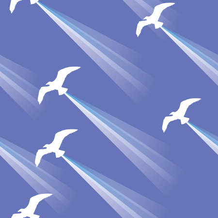Seamless pattern with seagulls on blue background