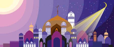 멋진 아라비아 도시의 실루엣의 파노라마입니다. 석양과 일출에 궁전 일러스트