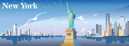 Panoramic view of New York-city with statue of Freedom, seagulls, skyscrapers and stars