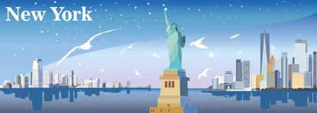 Panoramisch zicht op New York-stad met standbeeld van vrijheid, meeuwen, wolkenkrabbers en sterren Stock Illustratie