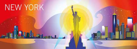 自由、高層ビルや明るい色の星の像がニューヨーク市のパノラマ ビュー