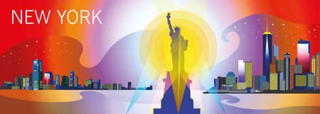 Panoramic view of New York-city with statue of Freedom, skyscrapers and stars in bright colors