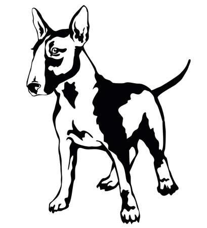 프로필 개에서 서의 장식 초상화 불 테리어, 흰색 배경에 검정색 색에서 격리 된 벡터 일러스트 벡터