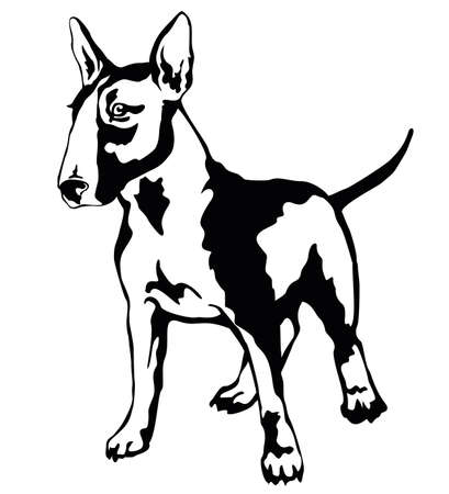 Decorative portrait of standing in profile dog Bull terrier, vector isolated illustration in black color on white background