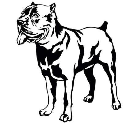 Decoratieve portret van staande in profiel hond Cane corso italiano vector geïsoleerde illustratie in zwarte kleur op witte achtergrond