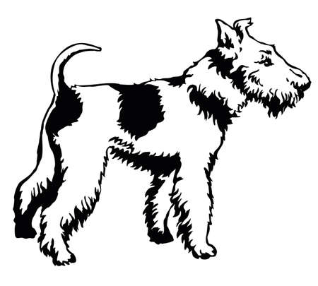 Decorative portrait of standing in profile dog Fox Terrier, vector isolated illustration in black color on white background