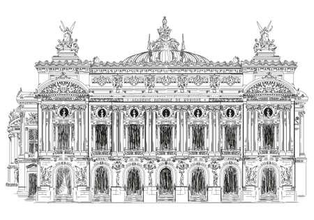 グランド ・ オペラ、オペラ ・ ガルニエ (ランドマークのパリ、フランス) ベクトル デッサン白い背景の黒い色のイラスト分離手