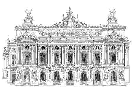 Grand opera, Opera Garnier (Landmark of Paris, France) vector isolated hand drawing illustration in black color on white background Stock Illustratie