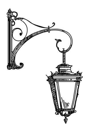 Hand drawing isolated illustration of old street lamp. Çizim