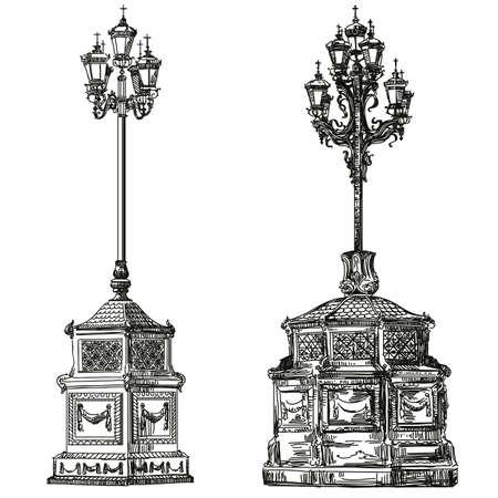 Oude lantaarn hand tekening illustratie.