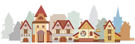 Panorama with colorful cartoon houses in European style isolated on white background