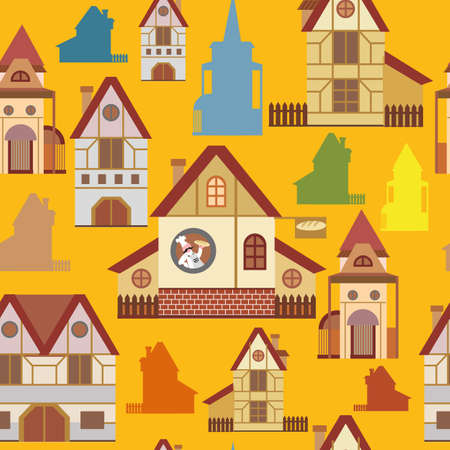 Seamless pattern with colorful cartoon houses in European style on yellow background