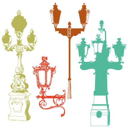 Reeks van de oude lantaarns geïsoleerde vectorillustratie van de handtekening in verschillende kleuren op witte achtergrond Stock Illustratie