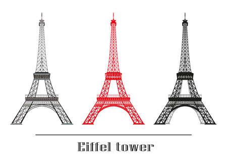 벡터 일러스트 레이 션의 집합 회색, 빨간색과 검은 색 에펠 타워 흰색 배경에 고립 일러스트