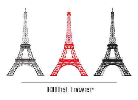 Set of vector illustration grey, red and black Eiffel tower isolated on white background