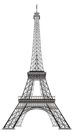 Vector den grauen und schwarzen Eiffelturm der Illustration, der auf weißem Hintergrund lokalisiert wird Vektorgrafik